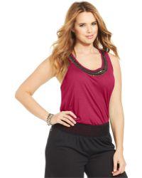 Jessica Simpson Plus Size Camryn Beaded Tank Top - Lyst