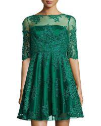 ML Monique Lhuillier Lace Half-Sleeve Cocktail Dress - Lyst