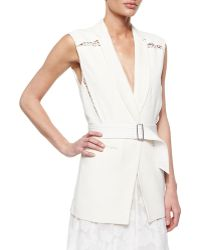 Rebecca Taylor Lace-Inset Belted Suiting Vest - Lyst