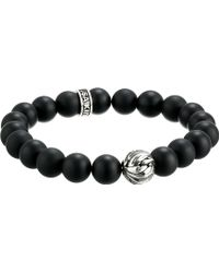 King Baby Studio 10Mm Onyx Bracelet With Silver Feather Bead - Lyst