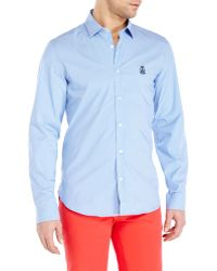 Love Moschino Blue Striped Sport Shirt - Lyst