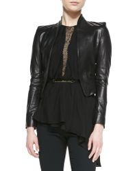 Halston Heritage Cropped Leather Jacket - Lyst