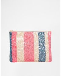 Asos Sequin Stripe Clutch Bag - Lyst