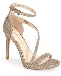 Jessica Simpson 'Rayli' Patent Ankle Strap Sandal gold - Lyst