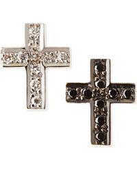 Kacey K - Black & White Diamond Cross Stud Earrings - Lyst