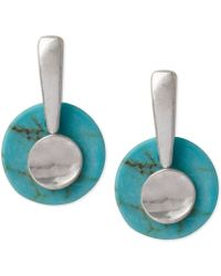 Robert Lee Morris Soho Silver-Tone Semi-Precious Turquoise Stacked Drop Earrings - Lyst
