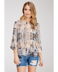 Forever 21 Abstract Print Twist-Back Blouse - Lyst