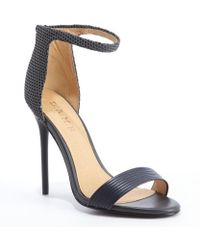 L.a.m.b. Grey and Black Rubber Mesh Detail Destiny Heel Sandals - Lyst