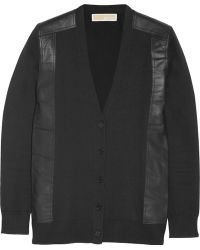 MICHAEL Michael Kors Leather-trimmed Knitted Cardigan - Lyst