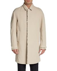 Burberry Prorsum Calfhair Trim Trench Coat - Lyst