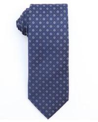 Prada Navy Blue Dotted Sun Pattern Silk Tie - Lyst
