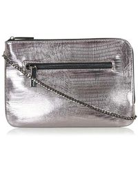 Topshop   Embossed Faux Leather Clutch - Metallic   Lyst