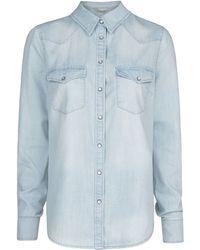 Mango Bleached Wash Denim Shirt - Lyst