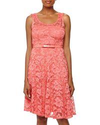 Chetta B Lace Bowbelt Dress - Lyst