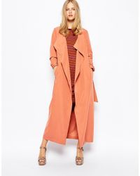 First & I - Belted Waterfall Duster Coat - Lyst