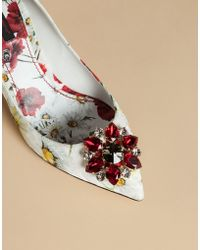 Dolce & Gabbana | Court Shoe In Printed Brocade With Crystals | Lyst