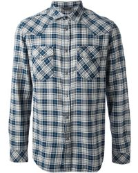 Diesel Blue Checked Shirt - Lyst