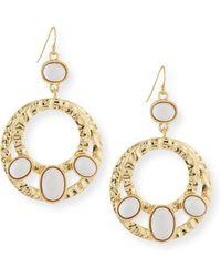 R.j. Graziano - Cabochon Double Hoop Earrings - Lyst