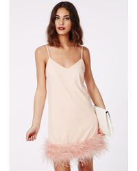 Missguided Chloete Crepe Fluffy Fur Trim Strappy Swing Dress Nude - Lyst