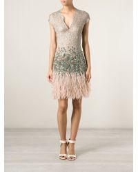Matthew Williamson Ostrich Feather-Trim Lace Dress - Lyst