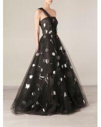 Oscar de la Renta Floral-Embellished Flared Gown - Lyst
