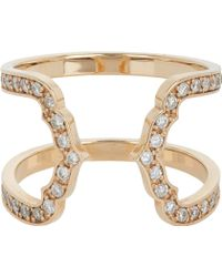Sara Weinstock Pavé Diamond  Rose Gold Double Taj Outline Cecelia Ring - Lyst