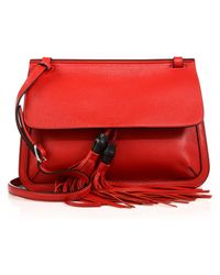 Gucci Bamboo Daily Leather Flap Shoulder Bag red - Lyst