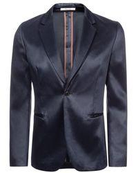 Paul Smith Slate Blue Cotton-Blend Satin Single-Button Blazer - Lyst