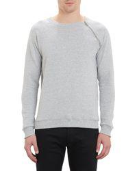 Saint Laurent Zip Shoulder Crewneck Sweatshirt - Lyst