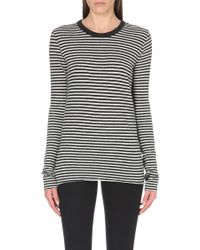 Enza Costa Striped Cotton and Cashmere-blend Top - Lyst