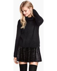 H&M Knitted Polo-neck Jumper - Lyst