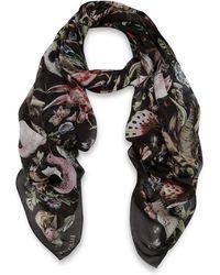 Valentino Black Animals Print Silk Chiffon Scarf - Lyst