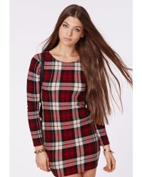 Missguided Jacey Stretch Crepe Tartan Bodycon Dress Red - Lyst