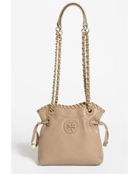 Tory Burch 'Small Marion' Leather Pouchette brown - Lyst