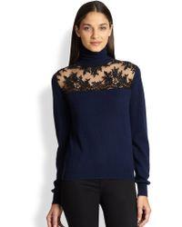 Mason by Michelle Mason Lacepaneled Wool Cashmere Sweater - Lyst