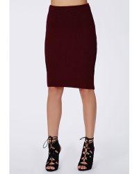 Missguided Madelynn Knitted High Waist Midi Skirt Wine - Lyst