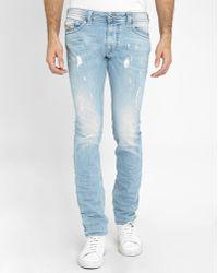 DIESEL | Light-blue Used Thavar Washed Slim-fit Jeans | Lyst