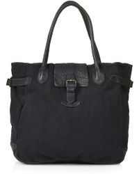 Topshop Washed Canvas and Leather Bag - Lyst