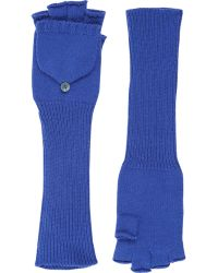 Barneys New York Fingerless Convertible Mittens blue - Lyst