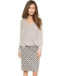 Otte New York Silk Sylvia Top - Light Grey - Lyst