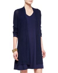 Eileen Fisher Ribbed Washable Organic Linen Cardigan blue - Lyst