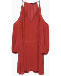 Zara Red Off-The-Shoulder Dress - Lyst