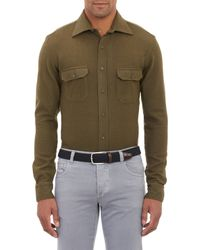 Salvatore Piccolo Green Wool Shirt - Lyst