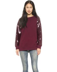 DKNY Raglan Sleeve Pullover with Sequin Sleeves  Bordeaux - Lyst