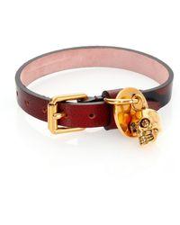 Alexander McQueen | Leather Skull Charm Bracelet | Lyst