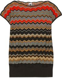 M Missoni Metallic Chevron-knit Wool-blend Top - Lyst
