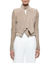 Halston Heritage Cropped Suede Overlay Jacket - Lyst