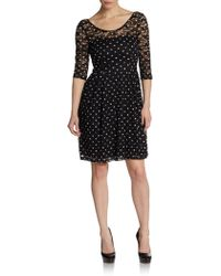 Betsey Johnson Dotted Lace Illusion Dress - Lyst