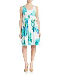 Calvin Klein Printed A Line Dress - Lyst