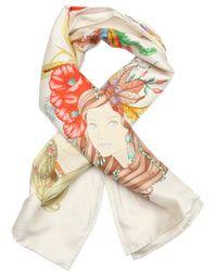 Gucci Ivory 'Four Seasons' Printed Silk Scarf - Lyst